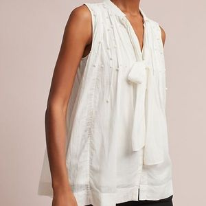NWT Anthropologie Leonie Pearlied Tie-Neck Blouse